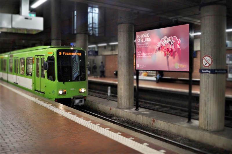 Großbildschirm Fahrgastfernsehen Station